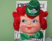 Vintage Style, St. Patrick's Day Leprechaun Bingo Doll Face - Shamrock Hat,  Red Hair, 7