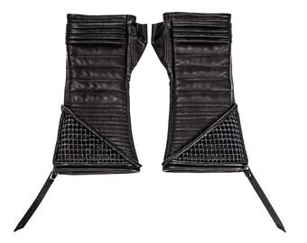 KAVALRY NET KOMBAT Black Leather Fingerless Gloves