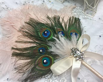 Ostrich and Peacock Feather Fan bouquet in your choice of colors and sizes