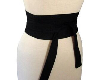 Black Obi Belt / Halloween Obi Waist Cincher / Wedding Sash / Black Bridesmaid Sash / Black Tie Belt / Dress Belt / Shaped to Fit Your Waist