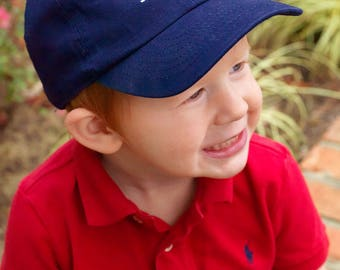 Navy Kids Monogram Ball Cap~Youth Hat~Personalized Hat