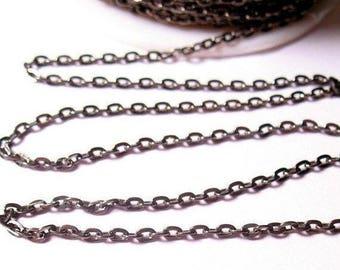 SALE 20% Off Gunmetal Cable Chain,  100 Foot Feet Spool Cable Chain, Rhodium Plated Copper Chain,  2mm x 3.5mm Feet Bulk