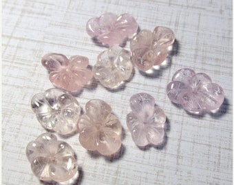 20% OFF SALE Carved Pink Morganite Aquamarine Flower Cabochon Bead, Carved Idar Oberstein Germany, QTY1