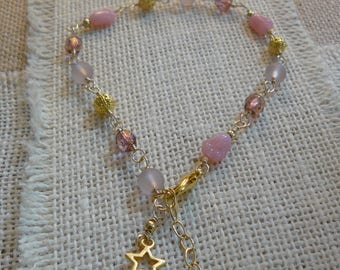 Hand Crafted Anklet, Pink Czech Glass, Crystals, Feminine Ankle Bracelet, Unique Handmade, One of a Kind Jewelrey, Ready to Ship, Beachwear