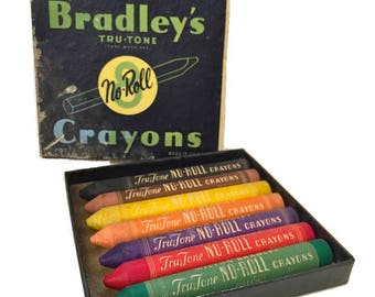 Bradley's Tru-Tone No Roll Crayons Vintage Milton Bradley Company Springfield Massachusetts collectible toys retro craft 1940s 1950s