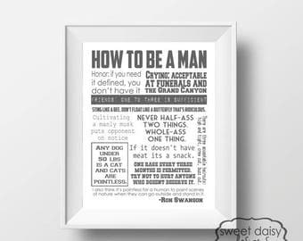 ON SALE Ron Swanson Quotes, Parks and Rec, How to be a Man, Ron Swanson Quotes, Parks and Recreation, Ron Swanson Funny Quotes,