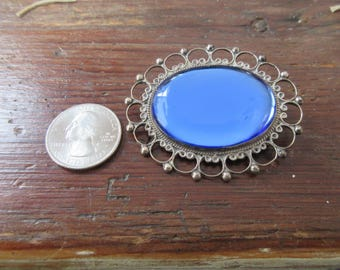 1930's Lg BLUE Mirrored Glass Sterling PIN-Hencho Mexico-Hallmarked JE
