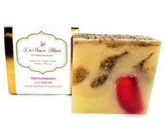 SOAP- Cherry Amaretto Soap - Almond Soap - Handmade Soap - Vegan Soap - Cold Processed Soap - Cherry Soap