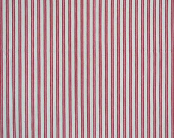 French vintage red & white striped ticking