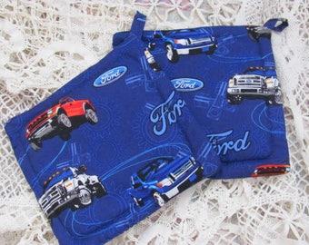 Pair  Potholders  2 Cotton Ford Truck Pot Holders / Trivets