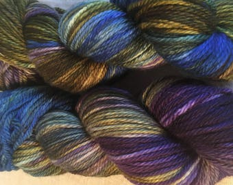 Green, Brown Hand Dyed 4ply Sock Wool/Nylon Yarn