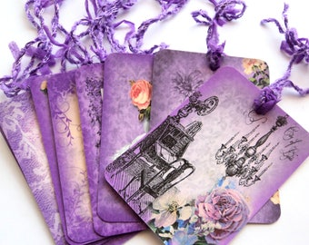 8 Purple & Lace Paris Gift Tags, Note Tags, Hang Tags, Merchandise, Party Favor by Takuniquedesigns