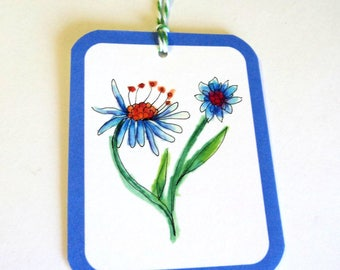 8 Gift Tags, White Blue Artist Drawn Flowers, Merchandise Tags, Party Favor Tags, Handmade, Takuniquedesigns