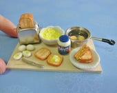 Dollhouse Miniature Egg Mayo Sandwich Preparation Board
