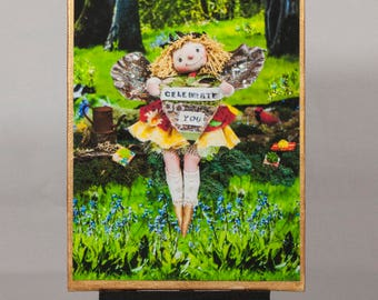 Birthday Greeting Gift Card mounted on canvas panel,featuring Fairy  photo scene along with soulful image and message on back panel.