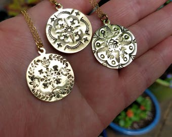 Mandala Hand Stamped Brass Pendant
