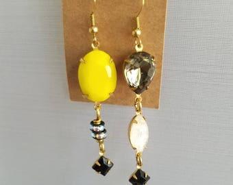 50%OFF Mismatched Crystal Earrings, Yellow Crystal, Black Crystal, Long Dangles, Beaded Earrings, Summer Earrings Under 10