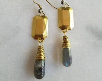 Gray Labradorite Drop Earrings, Raw Gold Brass Medieval Crosses, Wire Wrapped Dangles