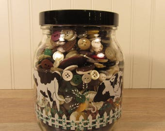Large cow design glass jar with lid- filled to the brim with vintage buttons