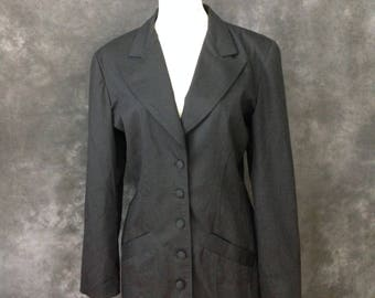 Vintage 1980's Betsey Johnson punk label black cotton jacket small