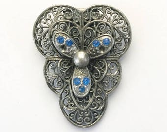 Vintage 1920s 1930s pewter / silver tone dress or fur clip with blue paste stones - 20s 30s