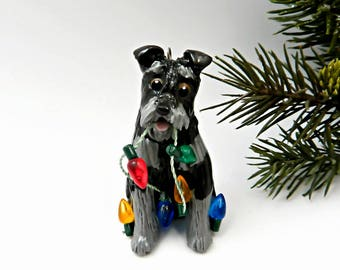 Schnauzer Black Silver Christmas Ornament Figurine Dog Lights Porcelain