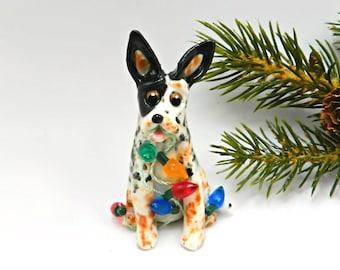 Australian Cattle Dog Christmas Ornament Figurine Porcelain Clay Lights