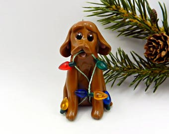 Vizsla Christmas Ornament Figurine Lights OOAK Porcelain