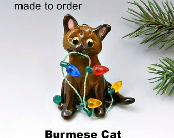 Burmese Cat Christmas Ornament Figurine Made to Order in Porcelain