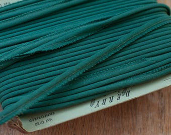 3 yards Wine Colored Piping-  Vintage Trim Embroidered 70s New Old Stock Upholstery Green