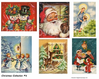 Christmas Collection 4 Digital Collage from Vintage Greeting Cards -  Instant Download - Cut Outs