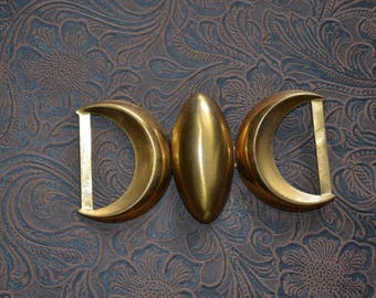 1940s 50s copper tone belt buckle set. Space age atomic design. dressmakers. Finding. Repurpose embellishment.