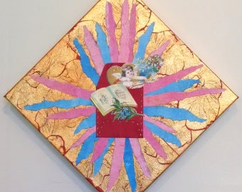 True Joy and Happiness Be Ever Thine, Paper Collage on Canvas with Gold Leaf, Envelope, and Vintage Ephemera