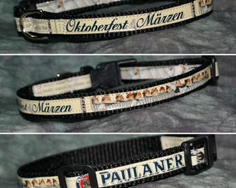 Adjustable Toy Dog/Cat Collar from recycled Paulaner Oktoberfest Marzen Beer Labels