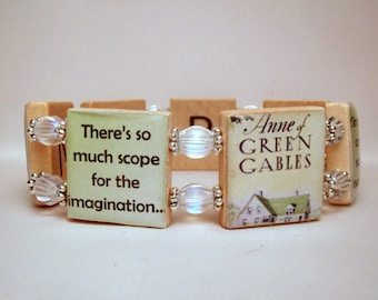 ANNE of GREEN GABLES Quote Bracelet / Scrabble Handmade Jewelry / Kindred Spirits - Book Lover - 1