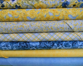 Walking on Sunshine Cotton Fabric In Blue and Yellow by Wilmington Prints Half Yard Bundle of 7