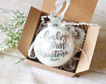 Baby's First Christmas Ornament, Personalized Glass Ornament, Custom Christmas Ball, Baby's 1st Christmas Gift, Baby Gift, Baby Ornament