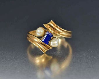Antique 14K Gold Blue Spinel Ring | Natural Pearl Ring | Gold Antique Engagement Ring | Edwardian Ring | Antique Ring | Gold Bypass Ring