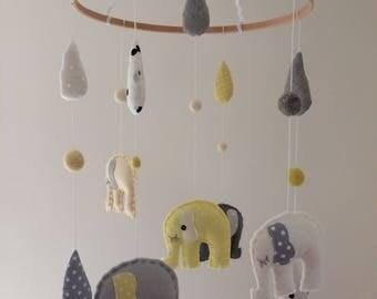 Yellow & Grey Felt Elephant Crib/Nursery Mobile