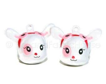 FINAL CLEARANCE SALE Kawaii Jingle Bell Charms -- Cute Deer: Set of 2