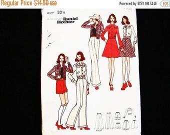on SALE 25% Off 1970s Womens Shorts, Pants,  A-Line Skirt, Short Bomber Jacket Butterick Pattern designer Daniel Hechter Misses size 10 Sewi