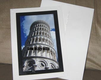 Leaning Tower of Pisa Art Photo Card, Blank Greeting Card, Any Occasion Snail Mail Card of Scenic Italy Photograph, Vacation Photo Souvenir
