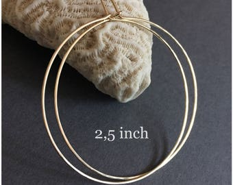 "2.25""; 2.5"" inch; 2.75"" inch, Gold Hoop Earrings, Hoop, Hammered Gold Filled Hoop Earrings, Gold Hoops, 14KT Gold Filled Hoop Earrings"