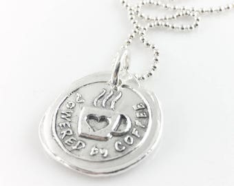 Powered by Coffee | Wax Seal Inspired Necklace - handmade, fine silver