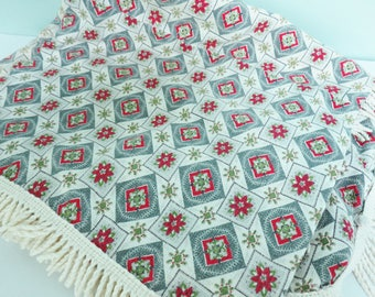 Mid-Century Barkcloth Tablecloth Cutter Fabric Yardage, Geometric Pattern in Gray, Red and Olive Green with Cream Fringe