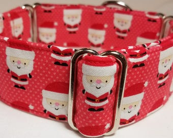 Santas on Red with White Polka Dots Cotton Greyhound, Whippet, Galgo, Pit Bull, Dog, Sighthound Martingale Collar