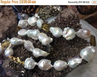 50% Mega Sale Baroque Nucleus Freshwater Pearls & Whiskey Quartz Necklace - All Natural