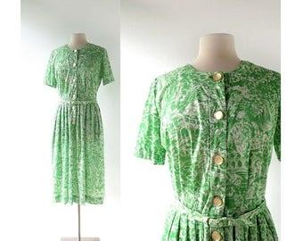 20% off sale 50s Vintage Dress | In Arcadia | Novelty Print Dress | 1950s Dress | Medium M