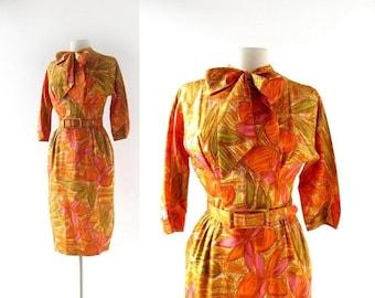 20% off sale Vintage 60s Dress   The Beachcomber   Tiki Print Dress   1960s Dress   XS