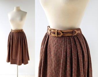 1950s Wool Skirt | Belted Skirt | 50s Skirt | 27W Small